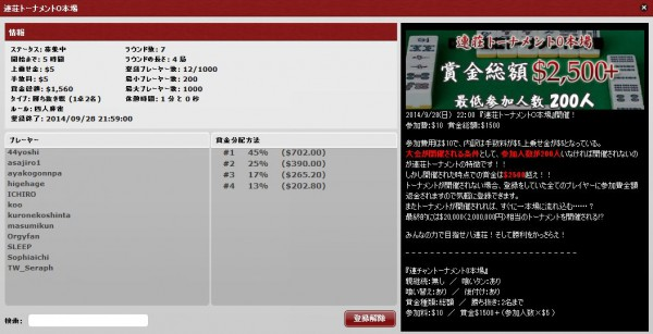 連荘トーナメント0本場20140928